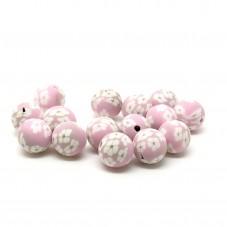 15 Perles Roses Grisées en Pâte Polymère Fimo 8mm pour la Création de Bijoux Fantaisie - DIY