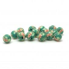 15 Perles Vertes en Pâte Polymère Fimo 8mm