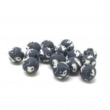 15 Perles Ying Yang Noir et Blanc en Pâte Polymère Fimo 8mm pour la Création de Bijoux Fantaisie - DIY