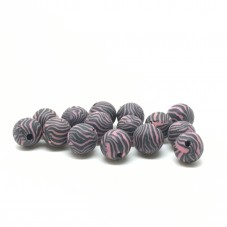 15 Perles Noires/Roses en Pâte Polymère Fimo 8mm