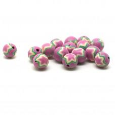 15 Perles Etoile en Pâte Polymère Fimo 8mm pour la Création de Bijoux Fantaisie - DIY