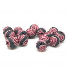 15 Perles Noires/Roses en Pâte Polymère Fimo 8mm pour la Création de Bijoux Fantaisie - DIY