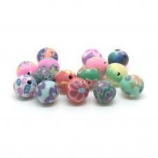15 Perles Multicolores en Pâte Polymère Fimo 8mm pour la Création de Bijoux Fantaisie - DIY