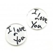 2 Cabochons en Verre Illustrés I Love You 12mm pour la Création de Bijoux Fantaisie - DIY