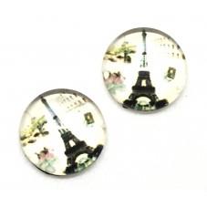 2 Cabochons en Verre Illustrés Tour Eiffel Paris 12mm