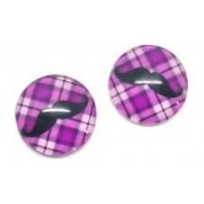 2 Cabochons en Verre Illustrés Moustache 12mm pour la Création de Bijoux Fantaisie - DIY
