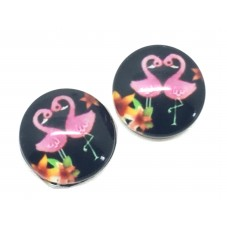 2 Cabochons en Verre Illustrés Flamant Rose 12mm