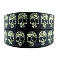 1 Mètre de Ruban Tête de Mort Crâne Gothique 25mm pour la Création de Bijoux Fantaisie - DIY