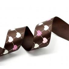 1 Mètre de Ruban Gros Grain Chocolat Coeurs 25mm