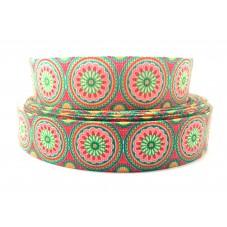 1 Mètre de Ruban Gros Grain Style Mandala 25mm pour la Création de Bijoux Fantaisie - DIY