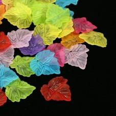 10 Breloques Feuilles en Acrylique Multicolore 24x22mm pour la Création de Bijoux Fantaisie - DIY