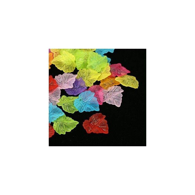 10 Breloques Feuilles en Acrylique Multicolore 24x22mm
