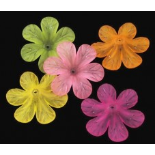 5 Perles Coupelles Fleurs en Acrylique Multicolore 33mm pour la Création de Bijoux Fantaisie - DIY