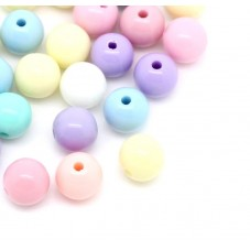 50 Perles Pastel en Acrylique 8mm pour la Création de Bijoux Fantaisie - DIY
