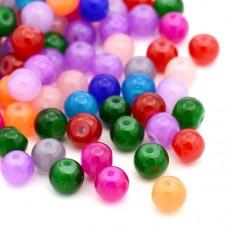 100 Perles en Verre Rondes Multicolores 6mm pour la Création de Bijoux Fantaisie - DIY