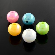 100 Perles Rondes Brillantes Multicolores en Acrylique 8mm