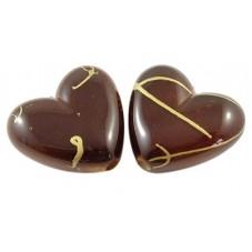10 Perles Coeur Chocolat Or en Acrylique 14mm