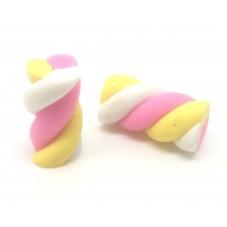 2 Cabochons Guimauve Bonbon Miniature Fimo 17mm pour la Création de Bijoux Fantaisie - DIY