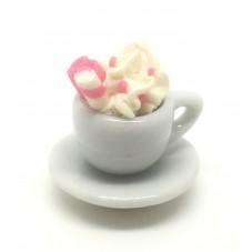 1 Mini Tasse Chantilly Fimo et sa Soucoupe en Porcelaine
