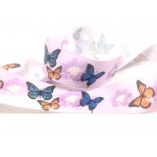 1 Mètre de Ruban Satin Mauve Papillons 25mm