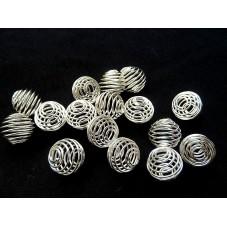 10 Perles Cage Spirale Ajourée Argentée 8x9mm pour la Création de Bijoux Fantaisie - DIY