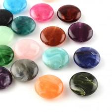 5 Perles Rondes Plates en Acrylique Multicolore 22mm