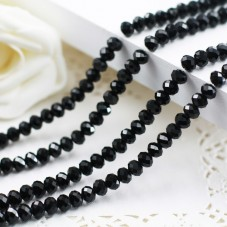 150 Perles à Facettes Noires en Verre 4,5mm