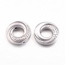 4 Perles en Métal Rondes Plates Argentées 15mm pour la Création de Bijoux Fantaisie - DIY