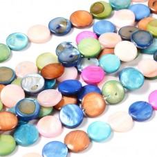 30 Perles Naturelles Palet en Nacre Rond Plat Multicolore 12mm