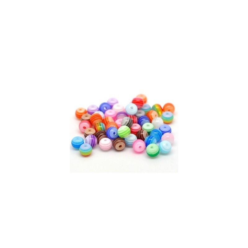 50 Perles en Résine Rayées Multicolores 6mm