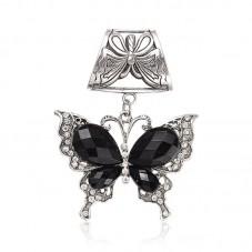 Grand Pendentif Bélière Papillon avec Strass 89mm