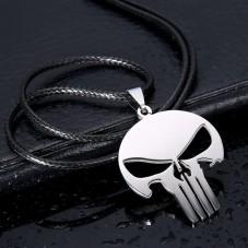 Collier Pendentif Argenté Crâne Tête de Mort Gothique