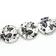 5 Perles Palet en Nacre Papillon Noir et Blanc 25mm