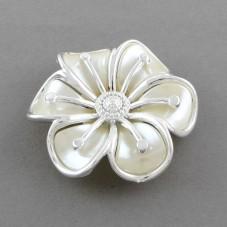 Grande Perle Fleur Blanche en Acrylique Liseret Argenté pour la Création de Bijoux Fantaisie - DIY