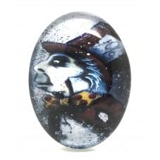 Cabochon en Verre Illustré Alice au Pays des Merveilles Chapelier Fou 30x40mm pour la Création de Bijoux Fantaisie - DIY