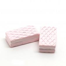 2 Cabochons Gaufrette Fraise Gourmandise Miniature en Résine 20x10mm pour la Création de Bijoux Fantaisie - DIY
