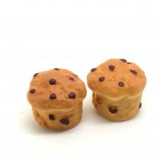 2 Cabochons Brioche Gourmandise Miniature en Résine 15mm pour la Création de Bijoux Fantaisie - DIY