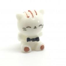Cabochon Chat Blanc Miniature en Résine pour Globe 17x13mm
