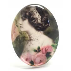 Cabochon en Verre Illustré Femme Vintage 30x40mm pour la Création de Bijoux Fantaisie - DIY
