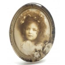 Cabochon en Verre Illustré Petite Fille Vintage 30x40mm pour la Création de Bijoux Fantaisie - DIY
