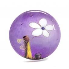 Cabochon en Verre Illustré Fée Ange Fleur 25mm pour la Création de Bijoux Fantaisie - DIY