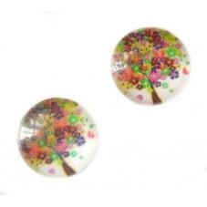 2 Cabochons en Verre Illustrés Arbre Fleur 10mm