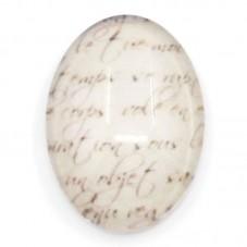Cabochon en Verre Illustré Écriture Ancienne 13x18mm