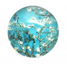 Cabochon en Verre Illustré Fleurs Branche 25mm pour la Création de Bijoux Fantaisie - DIY