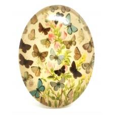 Cabochon en Verre Illustré Papillons 30x40mm pour la Création de Bijoux Fantaisie - DIY