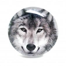 Cabochon en Verre Illustré Loup 25mm pour la Création de Bijoux Fantaisie - DIY