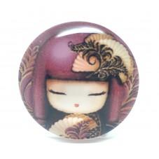 Cabochon en Verre Illustré Geisha Japonaise 25mm pour la Création de Bijoux Fantaisie - DIY
