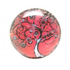 Cabochon Verre Illustré Image Arbre 25mm pour la Création de Bijoux Fantaisie - DIY