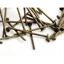 100 Tiges à Tête Plate Bronze Taille Mixte