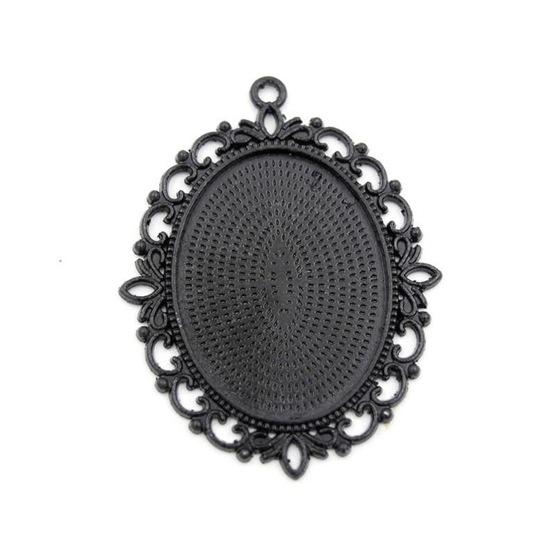 Support Pendentif Noir pour Cabochon 30x40mm